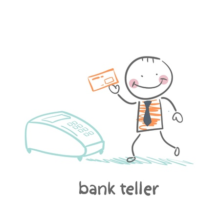 teller: bank teller with the apparatus