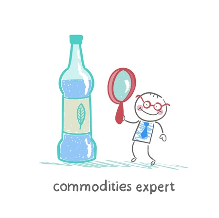 commodities expert with a magnifying glass looking at the bottle Ilustração