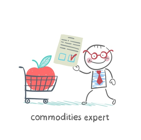 investment analysis: commodities expert merchandise with the document stands near the applecart