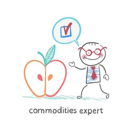 economist: commodities expert stands near the big apple and approves it Illustration