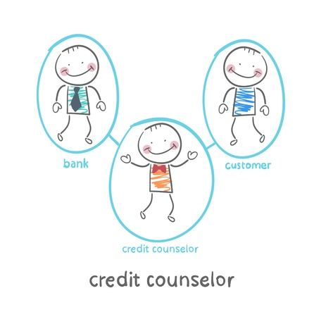 counselor: credit counselor is between the bank and the client Illustration