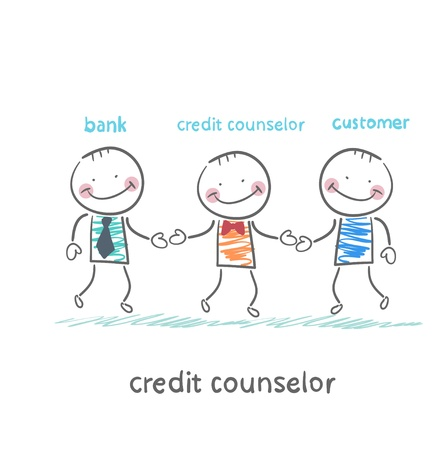 advisor: credit counselor is between the bank and the client Illustration