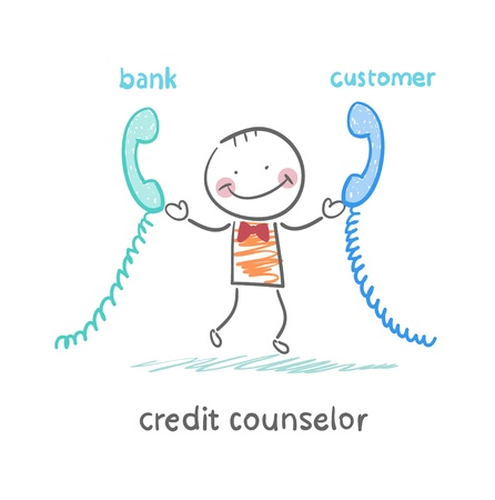 credit counselor talking on the phone with the bank and the customer Çizim