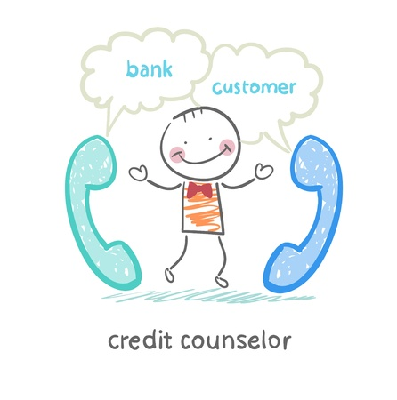 counselor: credit counselor talking on the phone with the bank and the customer Illustration