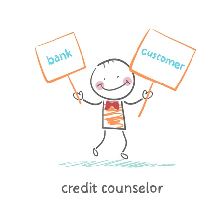 credit counselor holding a plate with the bank and the client Stock Illustratie