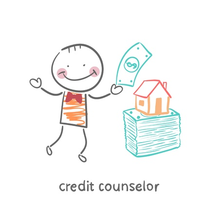 counselor: credit counselor near a bundle of money and the house