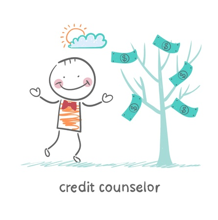money tree: credit counselor near the money tree