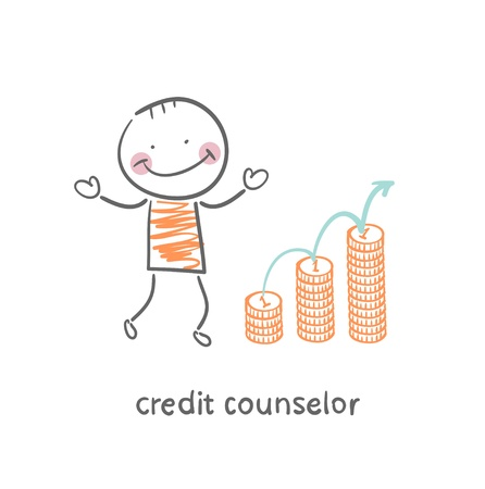 credit counselor next to the graph from coins