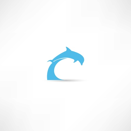 dolphin fish: dolphins icon Illustration