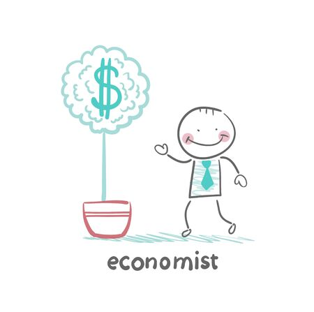 grow money: economist grow a money tree Illustration