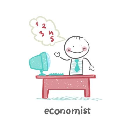 economist: economist sitting at work Illustration