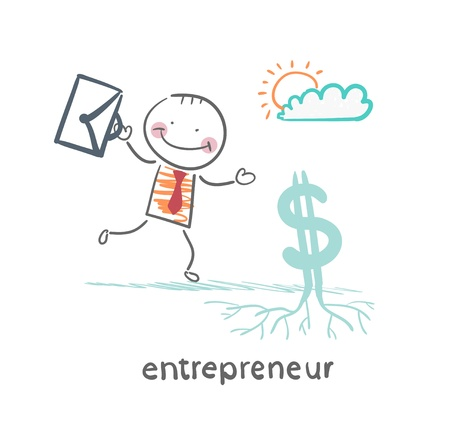 entrepreneur raises Dollar Stock Vector - 21983001