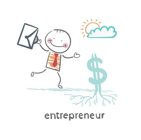 Unternehmer wirft Dollar