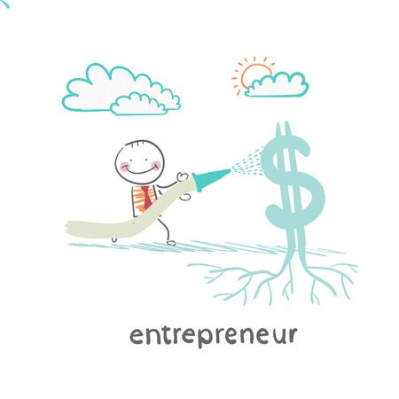 entrepreneur watering from a hose Dollar Stock Vector - 21983005