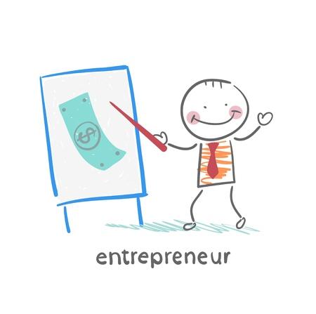 worker working: entrepreneur tells a presentation