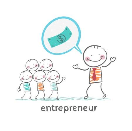entrepreneur talks about money Stock Illustratie