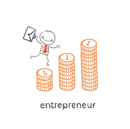 entrepreneur climbing up the schedule of the coins