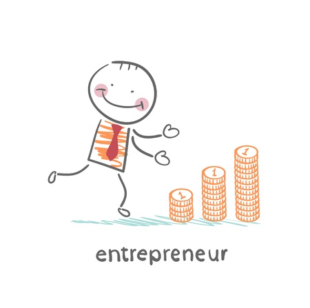 entrepreneur builds a graph from coins Stock Vector - 21983012