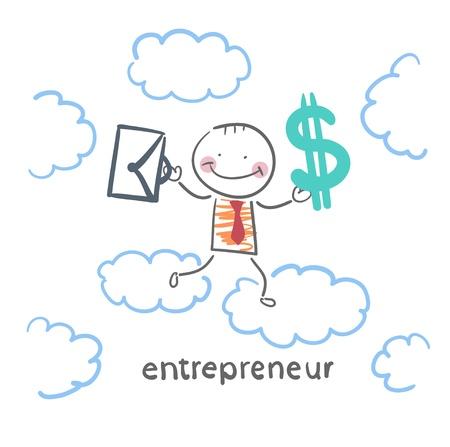 entrepreneur goes through the sky with a briefcase and money Stock Vector - 21983014