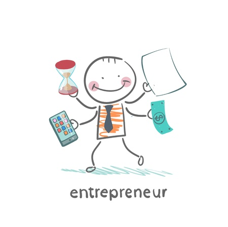 entrepreneur holding a calculator, money, hourglass, documents Illustration