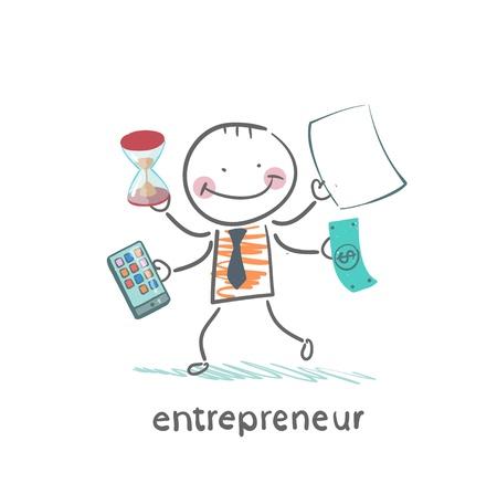 Unternehmer mit einem Rechner, Geld, Sanduhr, Dokumente Standard-Bild - 21983017