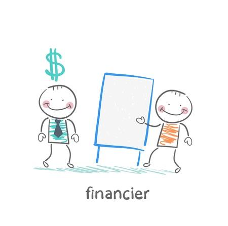 financier: financier hears a presentation from a man Illustration