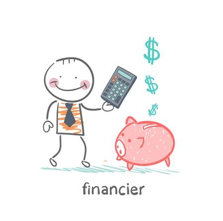 piglets: financier with a calculator and piglets piggy bank