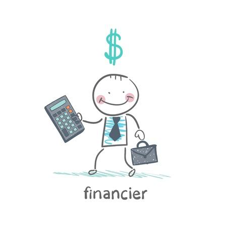 financier: financier with a calculator and dollar signs Illustration