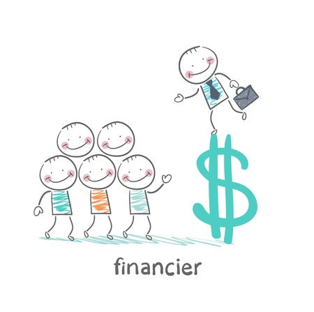 salary man: financier is on the dollar sign and talking with people Illustration