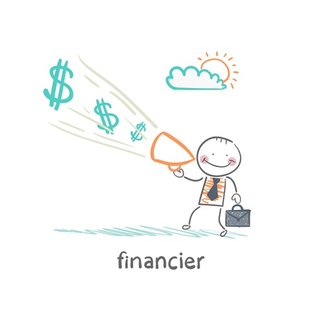 financier: financier yells into a megaphone about the money