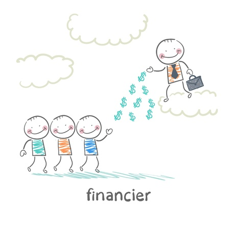 financier: financier stands on a cloud and throws money to the people