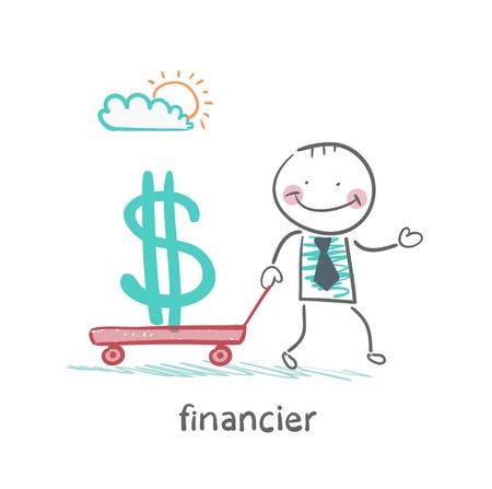 financier carries a wheelbarrow with a dollar sign