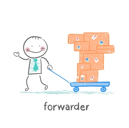 forwarder: forwarder carries a wheelbarrow with boxes of goods
