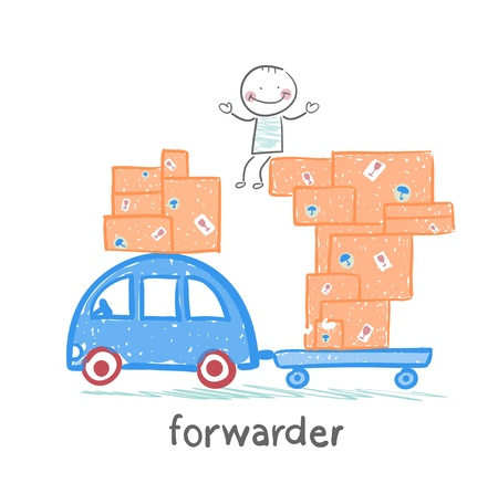 forwarder: forwarder rides on a machine that carries boxes with the goods