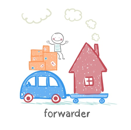 forwarder: forwarder rides on a machine that carries boxes with the goods and home Illustration