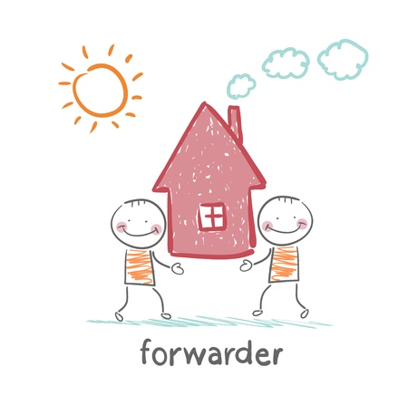forwarder: forwarder carries a house Illustration