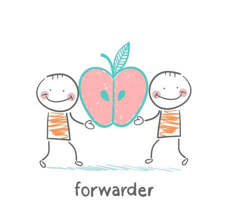 forwarder: forwarder is holding an apple