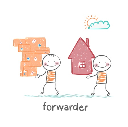 forwarder: forwarder carries a box with the goods and home