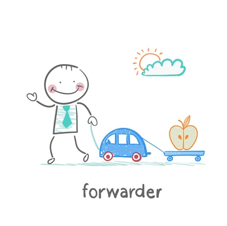 forwarder: forwarder drives a car with a trailer which is an apple Illustration