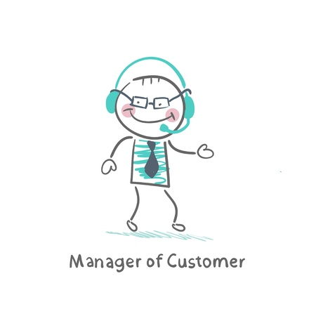 manager: Manager Customer Manager with to headphones