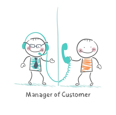 professional relationship: Manager of Customer talking on headphones with the client