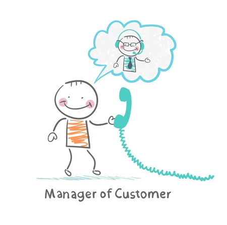 manager: Manager of Customer talking on headphones with the client