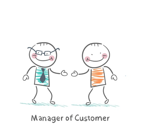 manager: Manager Customer greets with the client