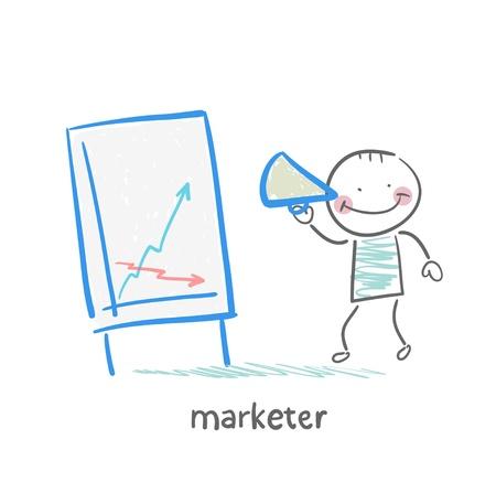 Vermarkter erzählt die Geschichte des Zeitplans Standard-Bild - 21983416
