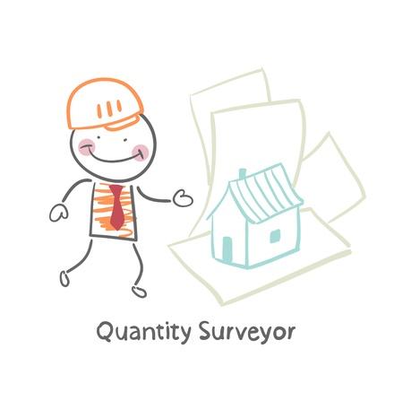 quantity surveyor: Quantity Surveyor design house on paper Illustration