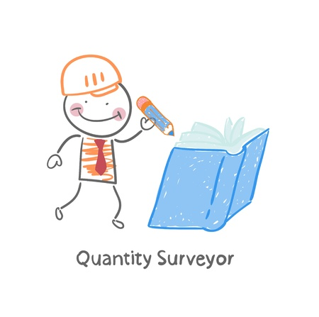 purchasing manager: Quantity Surveyor wrote in pencil in a book Illustration