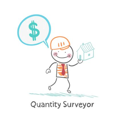Quantity Surveyor holds a house and thinking about money Stock Vector - 21984033
