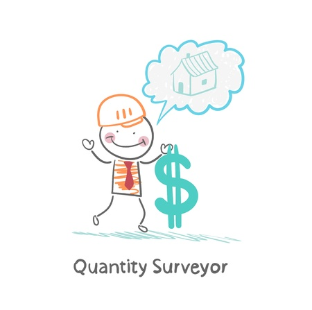 Quantity Surveyor holds dollar and thinking about home Vector