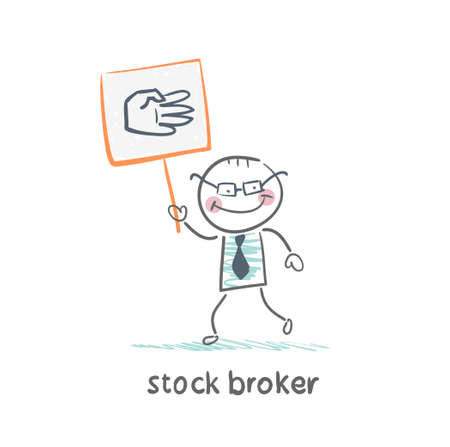 stock broker: Stock broker holding a sign with his hand