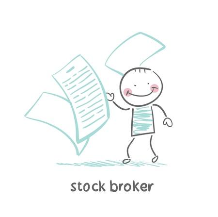 stock broker with documents Stock Illustratie
